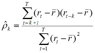 Formula for AutoCorelation of a sample