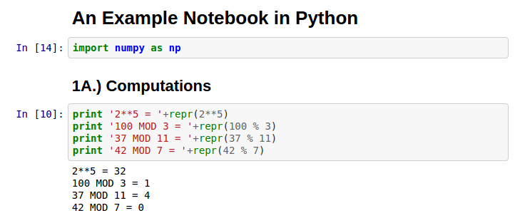 A Simple Notebook Example